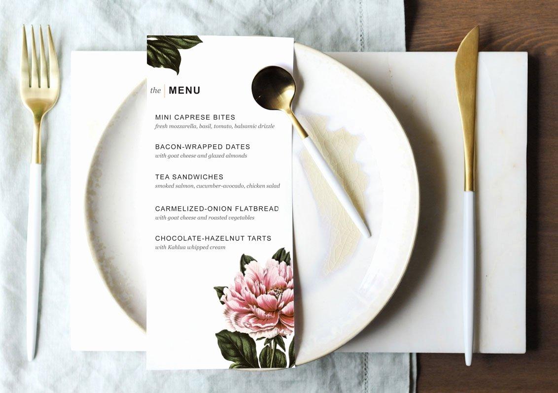 Dinner Party Menu Templates Beautiful Printable Dinner Party Menu Template Design Create