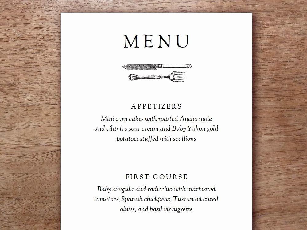 Dinner Party Menu Templates Best Of Printable Menu Kate & Wills