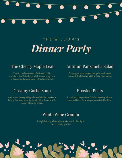 Dinner Party Menu Templates Elegant Customize 197 Dinner Party Menu Templates Online Canva