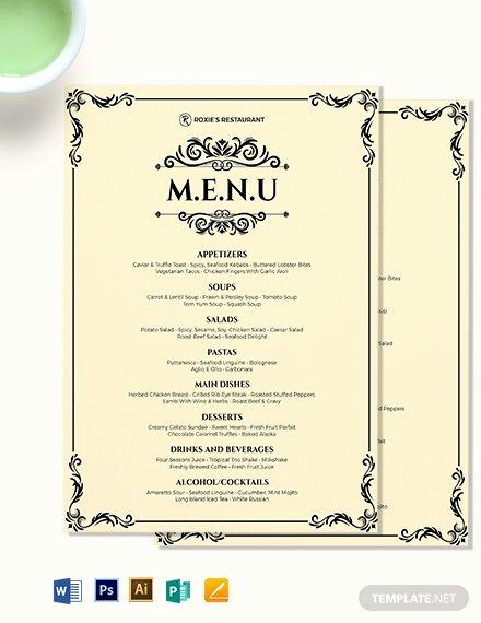 Dinner Party Menu Templates Inspirational Classy Classic Dinner Menu Template Download 0 Menus In