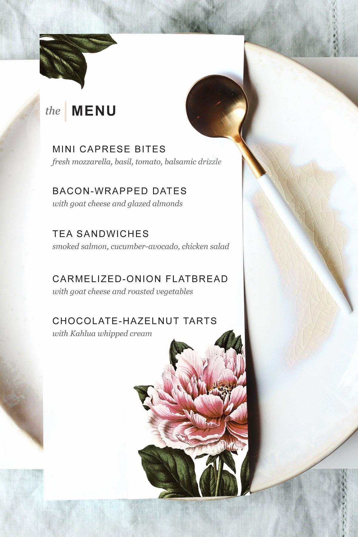 Dinner Party Menu Templates Inspirational Printable Dinner Party Menu Template Design Create