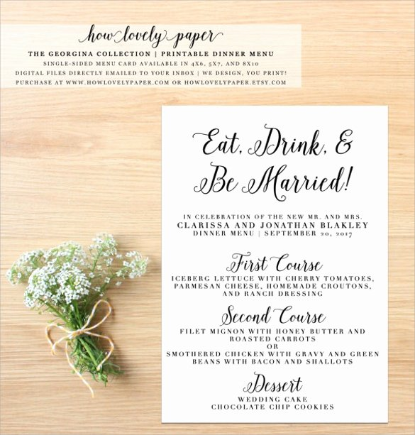 Dinner Party Menu Templates Lovely Free 25 Dinner Party Menus In Illustrator