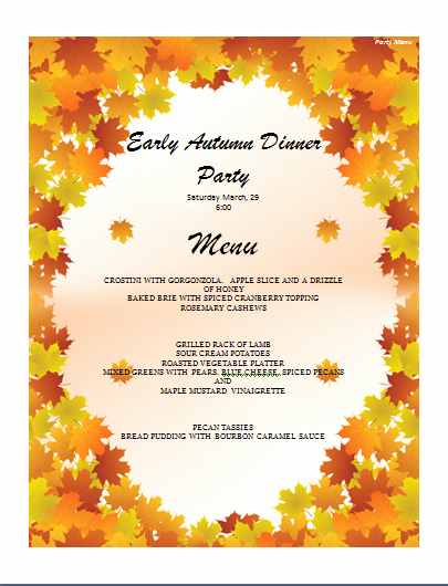 Dinner Party Menu Templates Luxury Menu Templates Archives Microsoft Word Templates