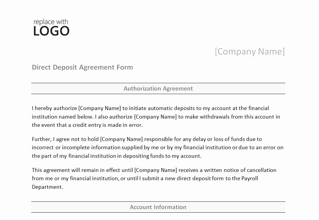 Direct Deposit form Template Word Beautiful Direct Deposit form Template