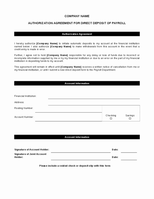 Direct Deposit form Template Word Best Of 5 Direct Deposit form Templates Excel Xlts