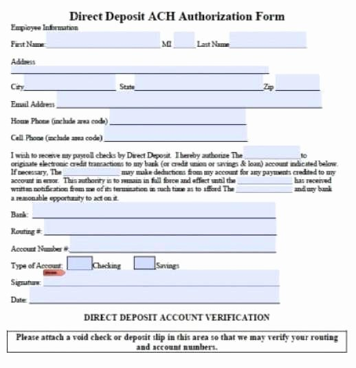 Direct Deposit form Template Word Best Of 5 Generic Direct Deposit form Templates formats