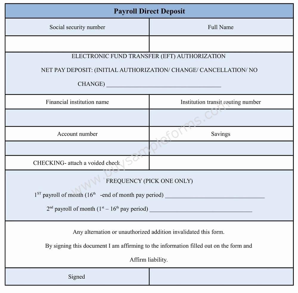 Direct Deposit form Template Word Elegant Payroll Direct Deposit form