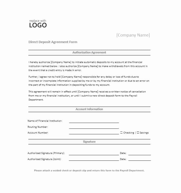 Direct Deposit form Template Word Fresh Generic Direct Deposit form