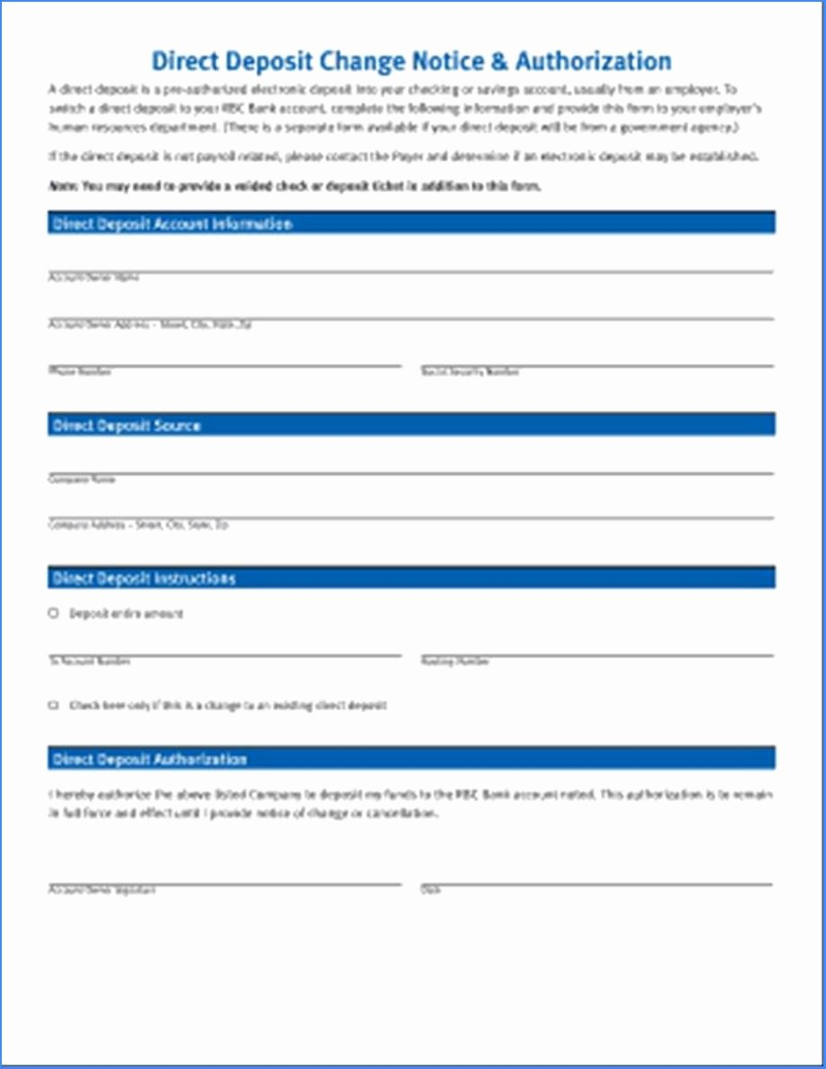 Direct Deposit form Template Word Inspirational Printable Direct Deposit form Template Word 1353