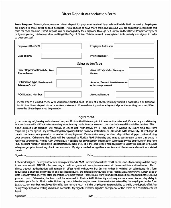 Direct Deposit form Template Word New Sample Direct Deposit Authorization form 10 Examples In