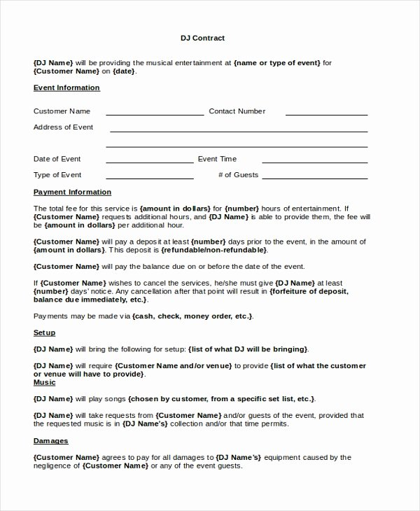 Disc Jockey Contracts Template Awesome Sample Dj Contract form 8 Free Documents In Pdf Doc