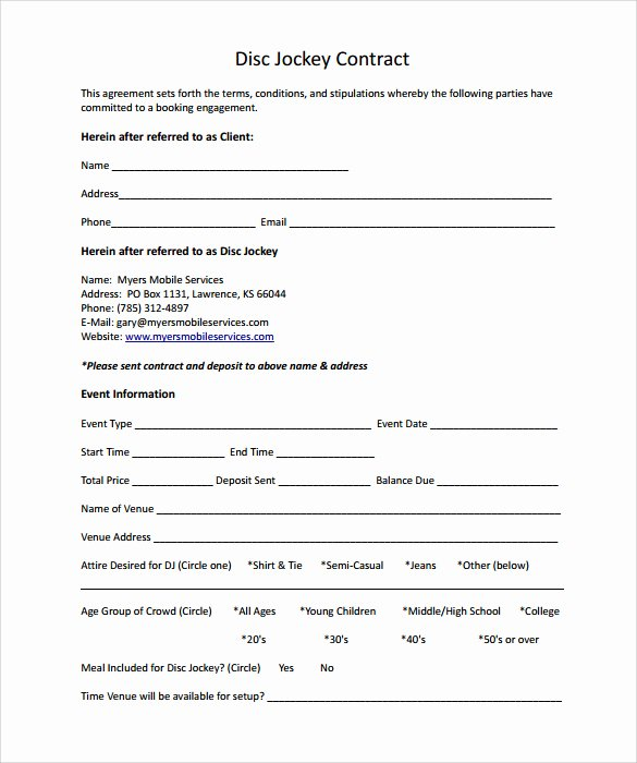 Disc Jockey Contracts Template Best Of 20 Printable Blank Contract Template Examples Thogati