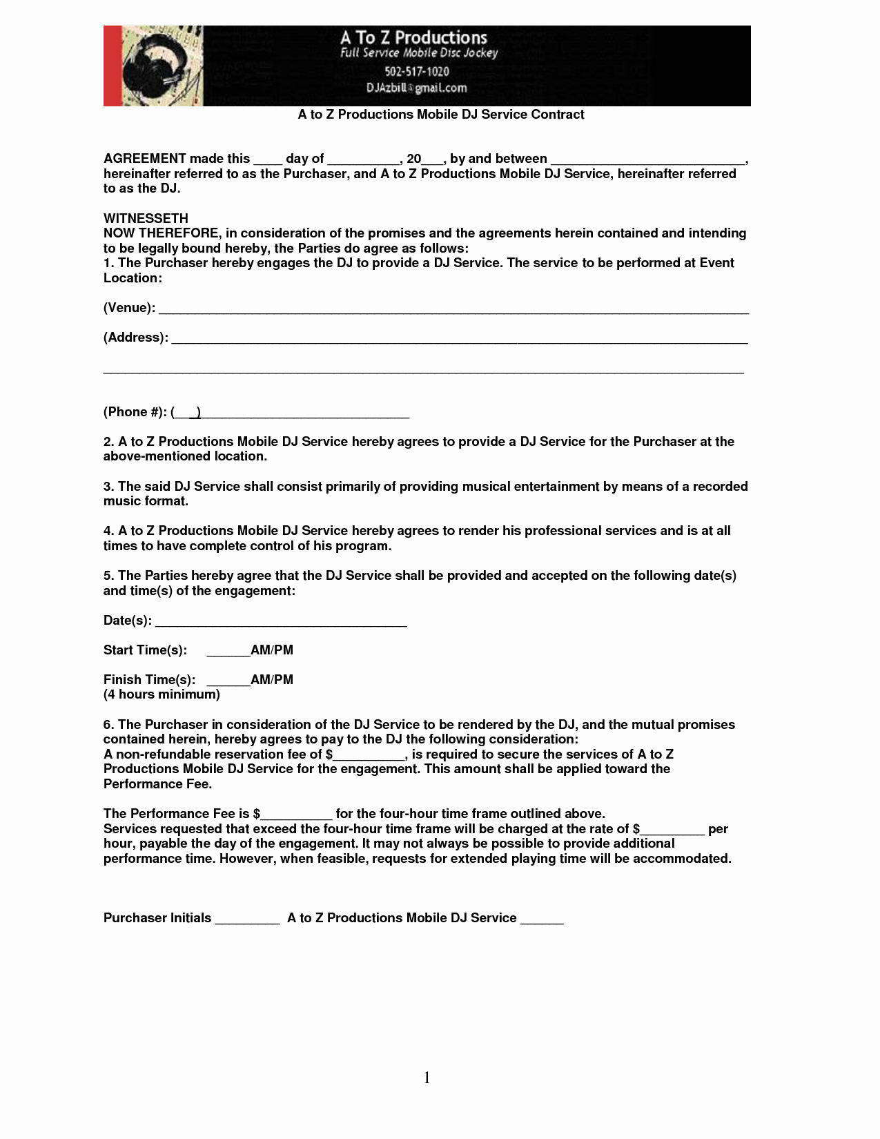Disc Jockey Contracts Template Best Of Mobile Dj Contract Mobile Contract Pic 21
