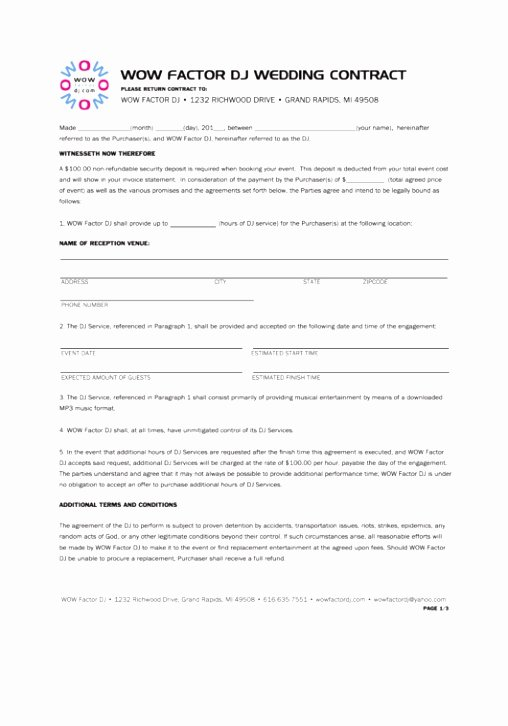 Disc Jockey Contracts Template Elegant 10 Wedding Planner Terms and Conditions Template Oetol