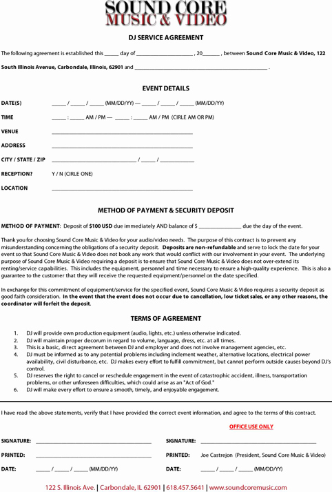Disc Jockey Contracts Template Fresh Download Dj Contract Template for Free formtemplate