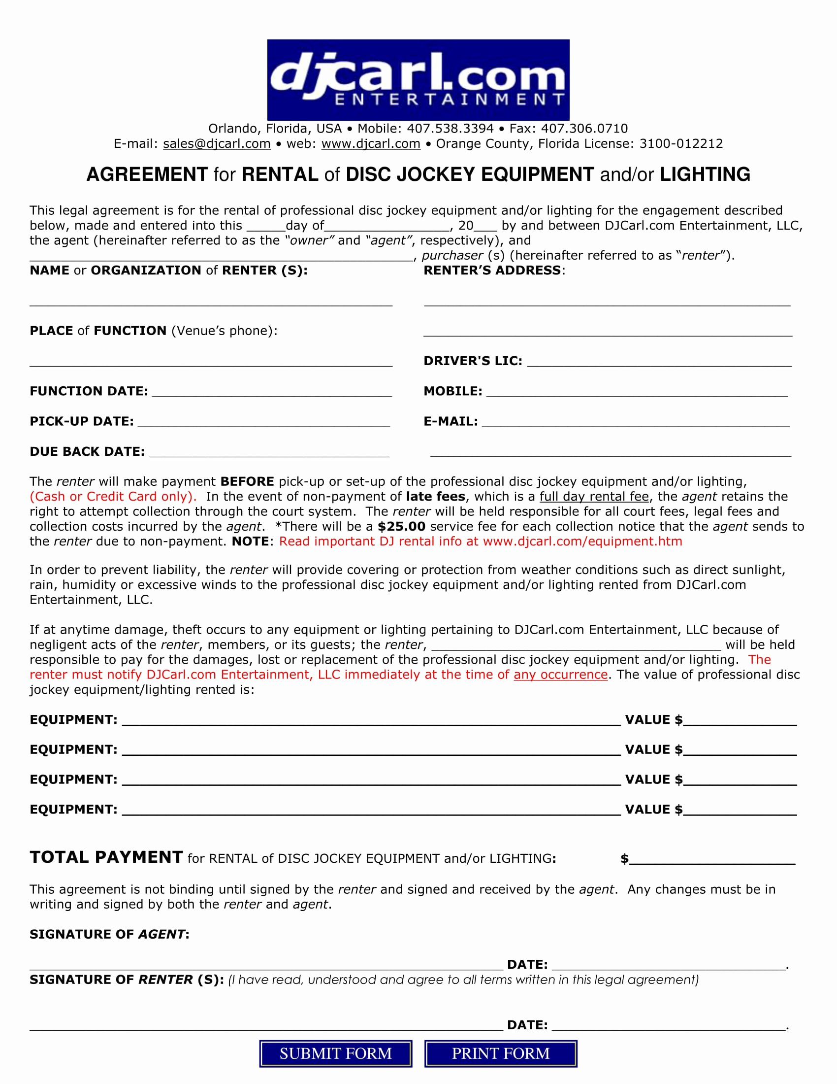 Disc Jockey Contracts Template Lovely 5 Dj Contract forms Dj Agreement Equipment Rental