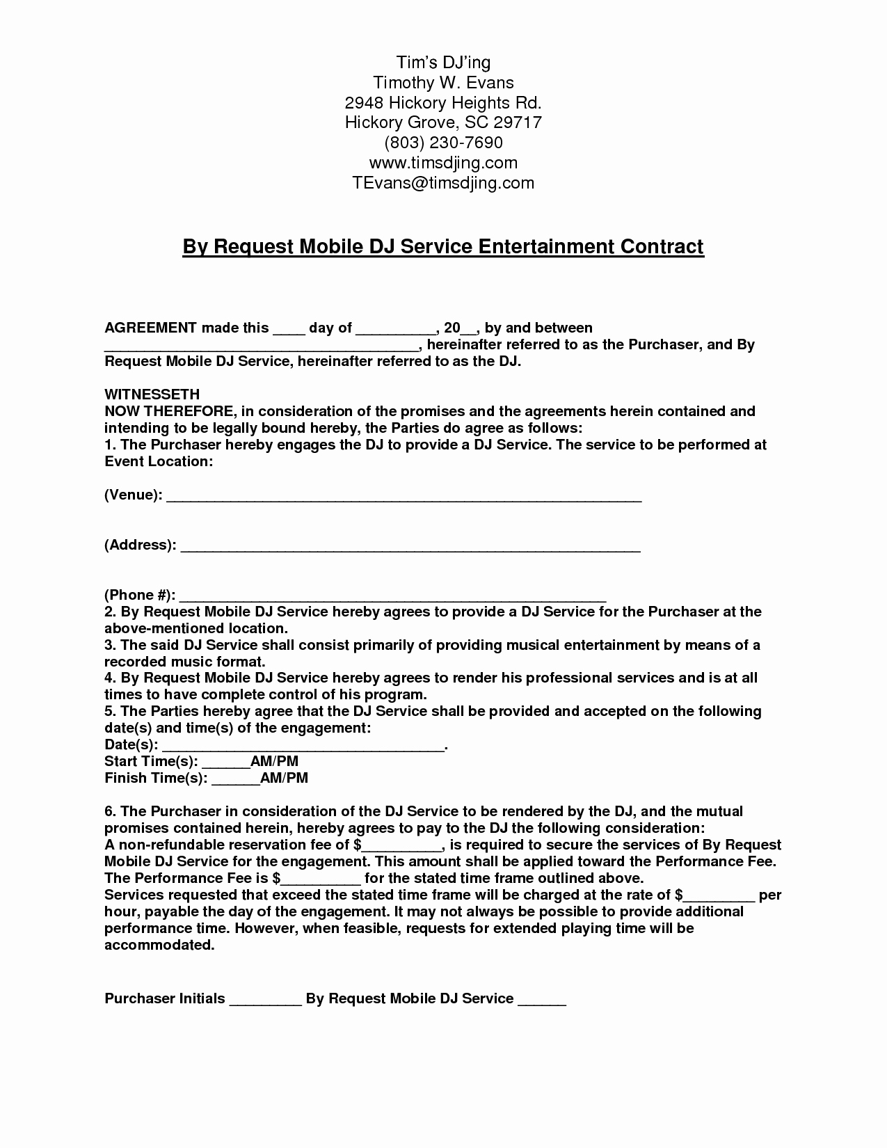 Disc Jockey Contracts Template Luxury Mobile Dj Contract