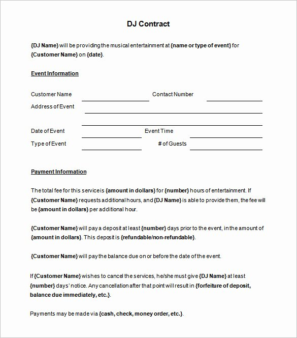 Disc Jockey Contracts Template Unique Brilliant Dj Contract Template Sample with Blank event