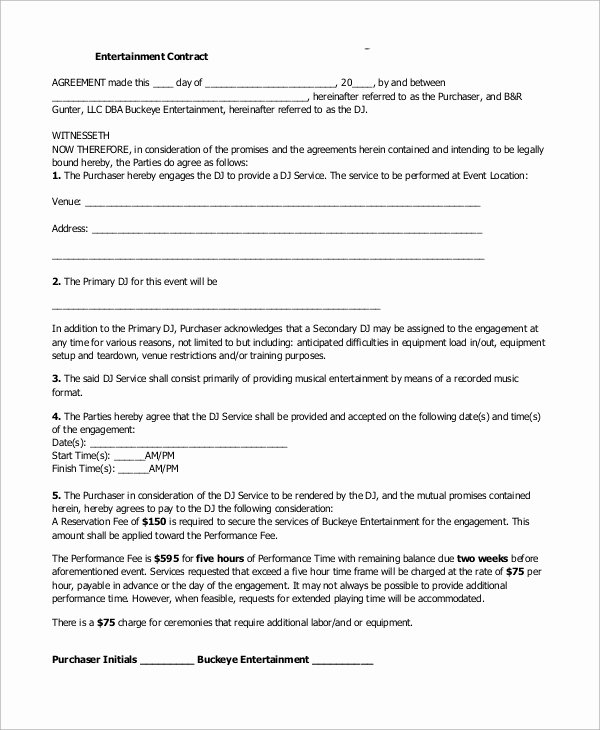 Dj Contract Template Microsoft Word Beautiful Sample Dj Contract 14 Examples In Word Pdf Google