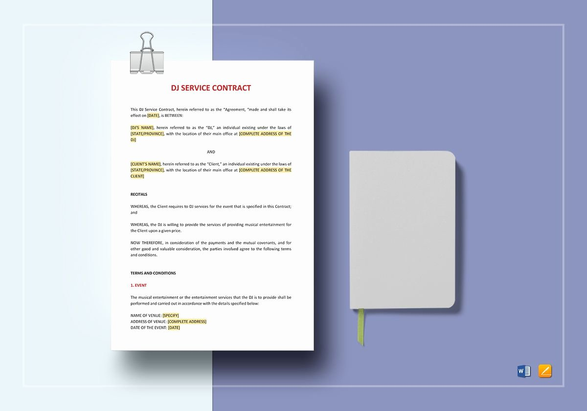 Dj Contract Template Microsoft Word Elegant Dj Service Contract Template In Word Google Docs Apple Pages