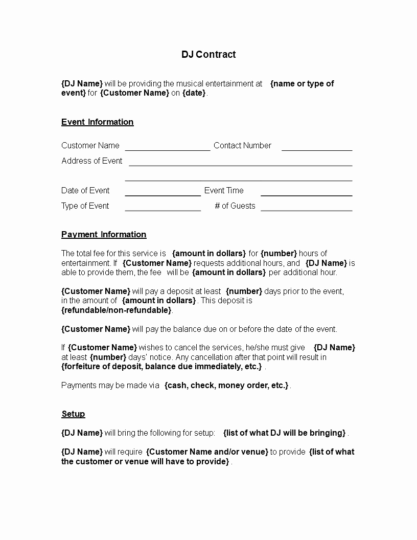 Dj Contract Template Microsoft Word Fresh Printable Dj Contract Template