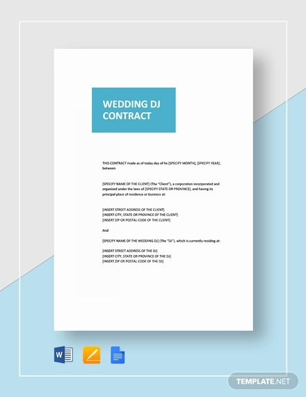 Dj Contract Template Microsoft Word Inspirational 11 Best Wedding Contract Templates Ms Word Google Docs