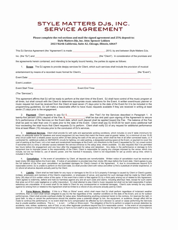 Dj Contract Template Microsoft Word Inspirational 12 Dj Service Contract Template Pdf Word