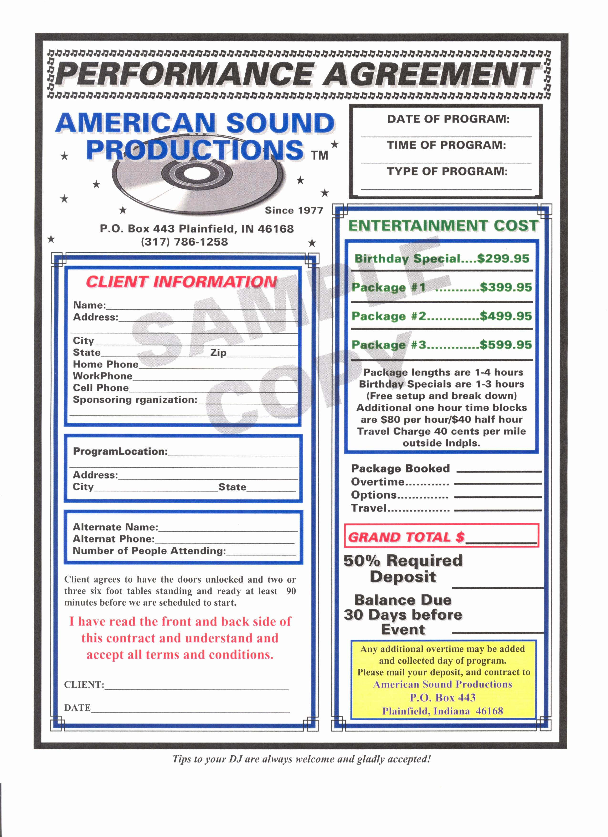 Dj Contract Template Microsoft Word Inspirational Dj Contract Free Printable Documents
