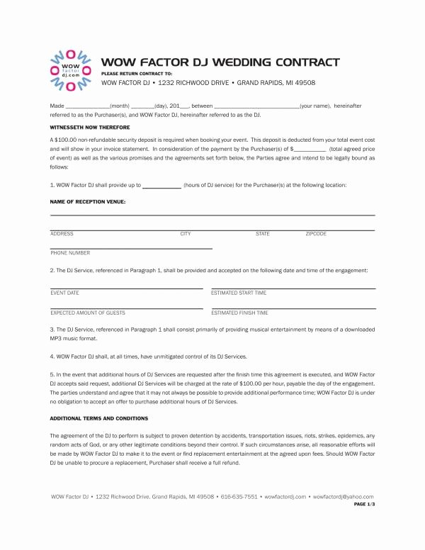Dj Contract Template Microsoft Word New 12 Dj Service Contract Template Pdf Word
