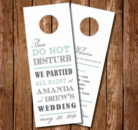 Do Not Disturb Sign Templates Beautiful Printable Wedding Door Hanger Wedding Itinerary