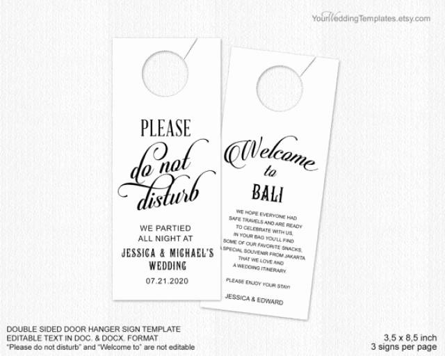 Do Not Disturb Sign Templates Inspirational Decor Wedding Door Hanger Template Weddbook
