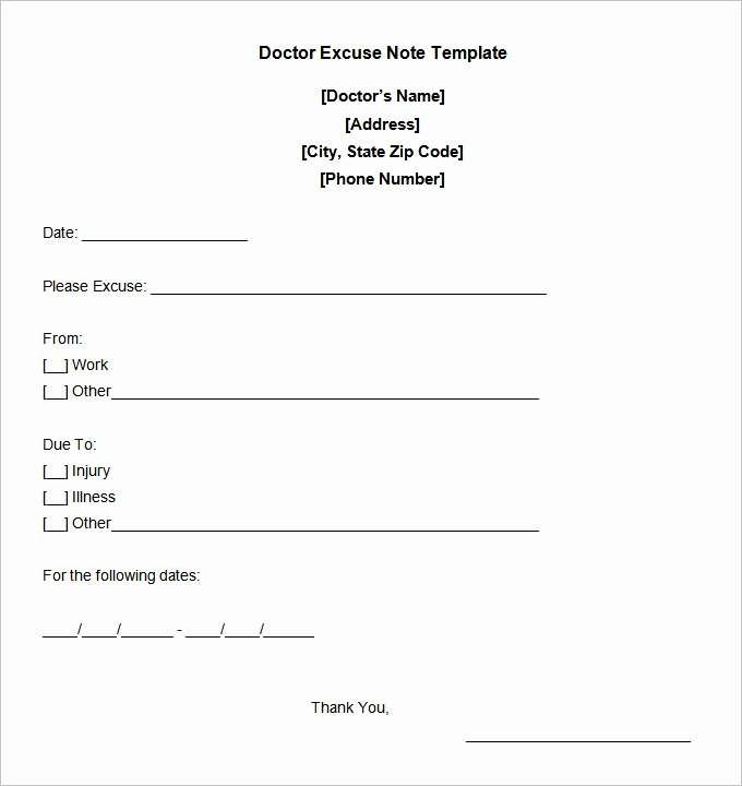 Doctor Excuse Note Template Elegant Doctors Excuse Template