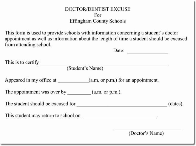 Doctor Excuse Note Template Fresh Doctor S Note Templates 28 Blank formats to Create