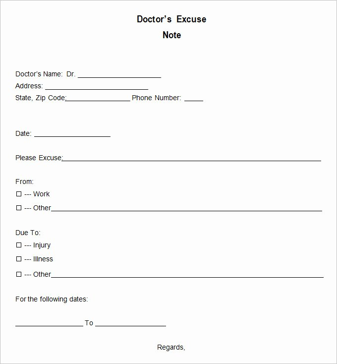 Doctor Excuse Note Template Inspirational 9 Doctor Excuse Templates Pdf Doc