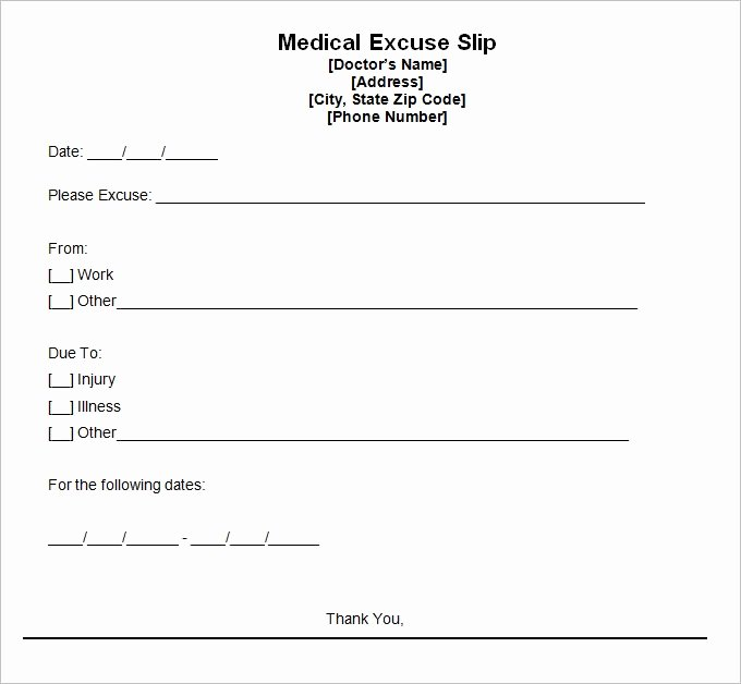 Doctor Excuse Note Template Lovely Doctors Excuse Template