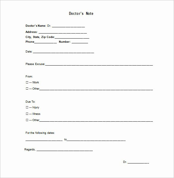 Doctor Excuse Note Template New Medical Doctor Note Template 13 Free Sample Example