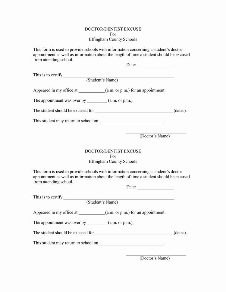 Doctor Excuse Note Template Unique 36 Free Fill In Blank Doctors Note Templates for Work