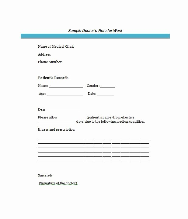 Doctor Excuse Template for Work Awesome 25 Free Doctor Note Excuse Templates Template Lab