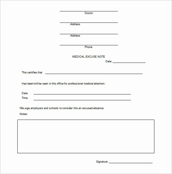 Doctor Excuse Template for Work Beautiful Doctor Note Templates for Work 7 Free Sample Example