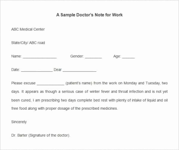 Doctor Excuse Template for Work Elegant 35 Doctors Note Templates Word Pdf Apple Pages