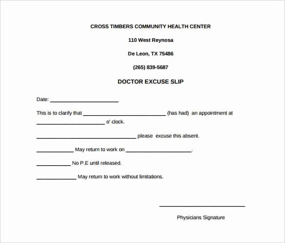 Doctor Excuse Template for Work Lovely 4 Printable Doctor S Note for Work Templates Pdf Word