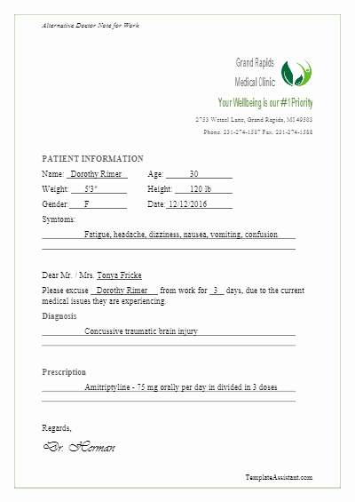 Doctor Excuse Template for Work Luxury 5 Doctor S Note Templates Vectorgraphit