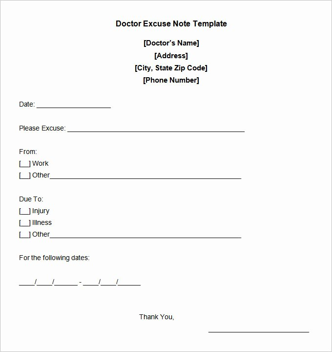 Doctor Excuse Template for Work New 5 Free Fake Doctors Note Templates