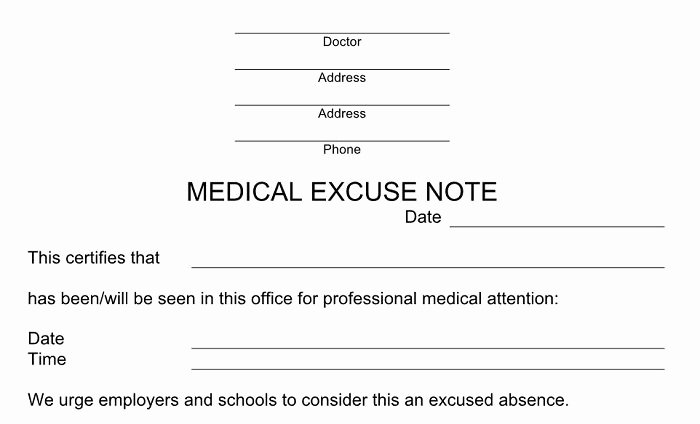 Doctor Excuse Template for Work Unique 27 Free Doctor Note Excuse Templates Free Template