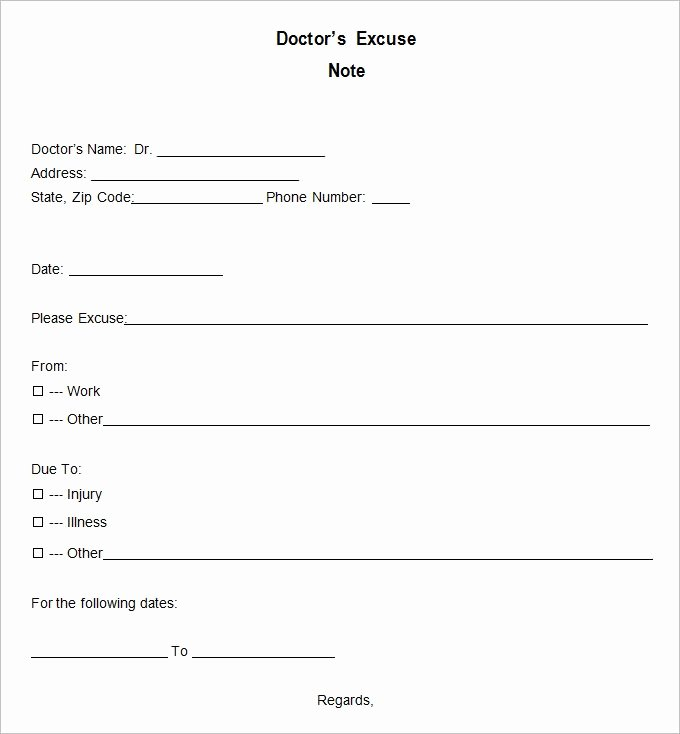 Doctor Note Template Pdf Best Of Doctor Excuse Template