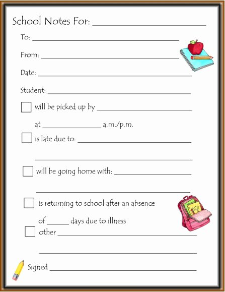 Doctor Notes for School Templates Beautiful School Note Template – Missmernagh