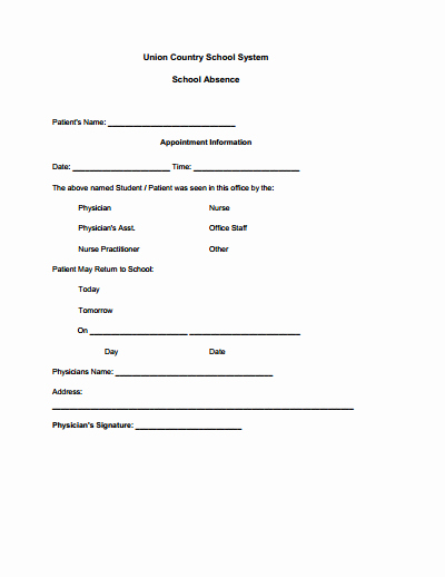 Doctor Notes for School Templates Lovely Doctors Note for School Template Create Edit Fill and