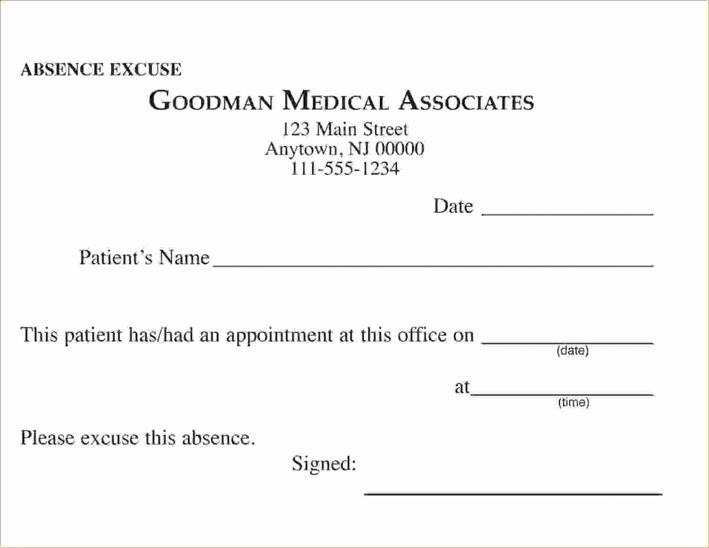 Doctors Excuses for Work Template Elegant Doctors Excuse for Work