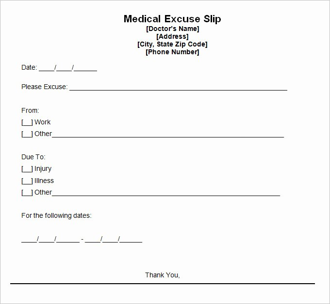 Doctors Excuses for Work Template Fresh 9 Doctor Excuse Templates Pdf Doc