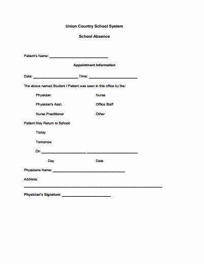 Doctors Note for School Template Luxury Doctors Note for School Template Create Edit Fill and